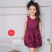 Winter Spring Hot Sell New Cute Sleeveless Cotton Rose Pink Dress For Girls Flower Dress Folds