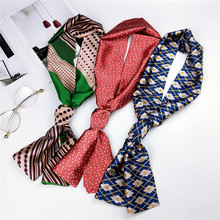 145*15cm Long Strip Casual Floral Print Satin Silk Scarf Female Tie Bag Ribbon Women Korean Style Head-Neck Thin Soft Scarves