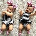 2016 bebê recém-nascido menina roupas roupas de Bebê Menino de Verão de Manga Curta Backless Bodysuits roupa bebe