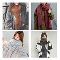 Fashion Women Knitting Wool Scarf Winter Warm Thickening Scarves Solid Soft High Quality Woolen Casual scarves 204