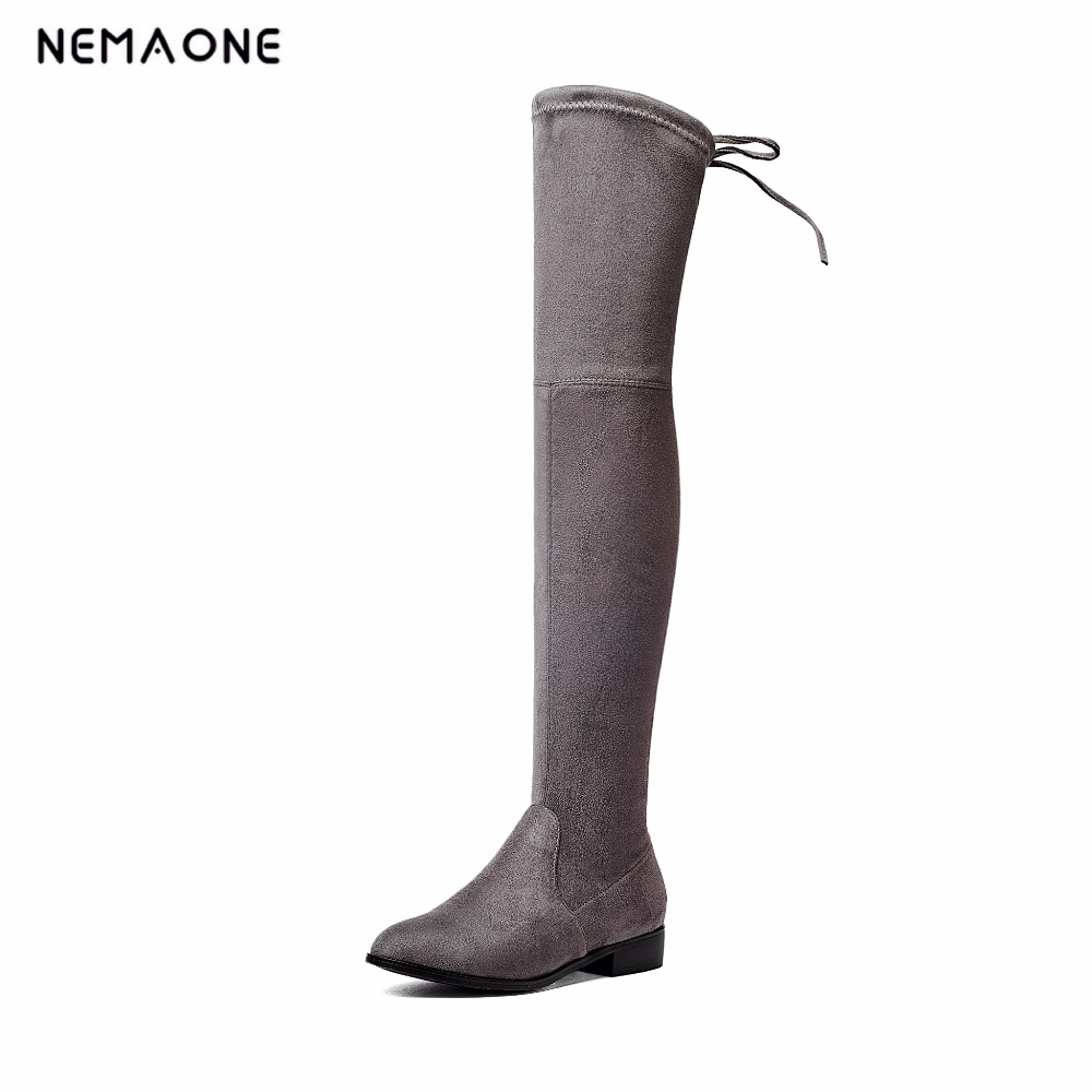 NEMAONE Women Shoes Bow Tie Ladies Motorcycle Boots Size 34-43 2017 Square Low Heel Woman Stretch Fabric Over The Knee Boots nemaone 2018 over the knee boots square med heel women boots sexy ladies lace up stretch fabric fashion boots black size 34 43
