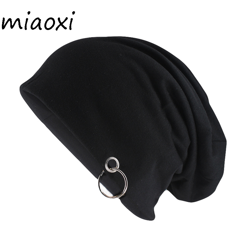 Miaoxi New Style Fashion Adult Unisex Solid Hat With Hoop Casual Women Warm Beanies Skullies Novelty Men Gorros Caps