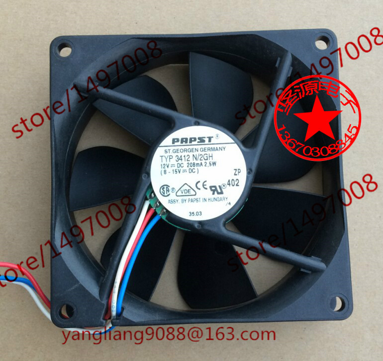 ebm papst papst TYP 3412 N/2GH DC 12V 208MA 2.5W 3-wire 80mm 90x90x25mm Server Square Fan ebm papst 412fm 412 fm dc 12v 0 045a 0 55w 40x40x10mm server square fan