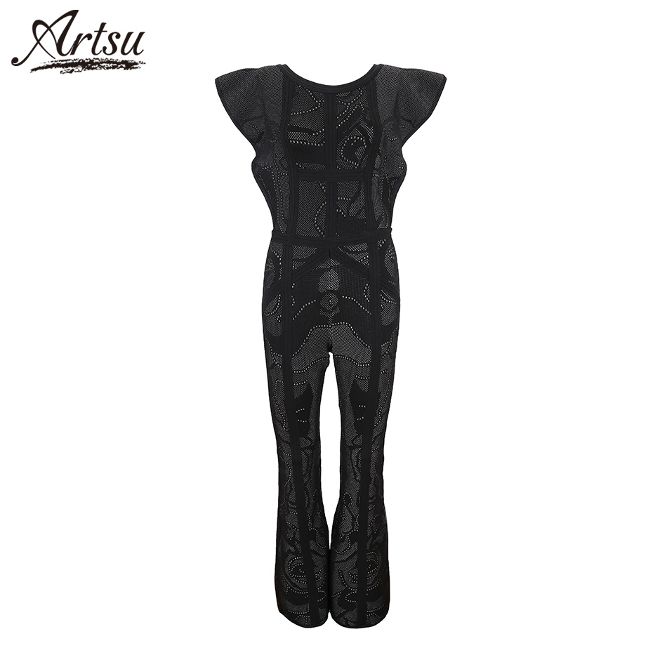 ArtSu 2018 Summer New Knitted Bandage Jumpsuits Patchwork Boot Cut Sexy Jumpsuits Nightclub Women Ruffles Full Length Rompers