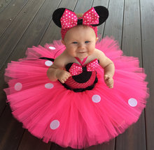 цена на Lovely Girls Pink Mickey Crochet Tutu Dress Baby 2Layers Tulle Tutus with White Dots Ribbon Bow and Headband Kids Party Dresses