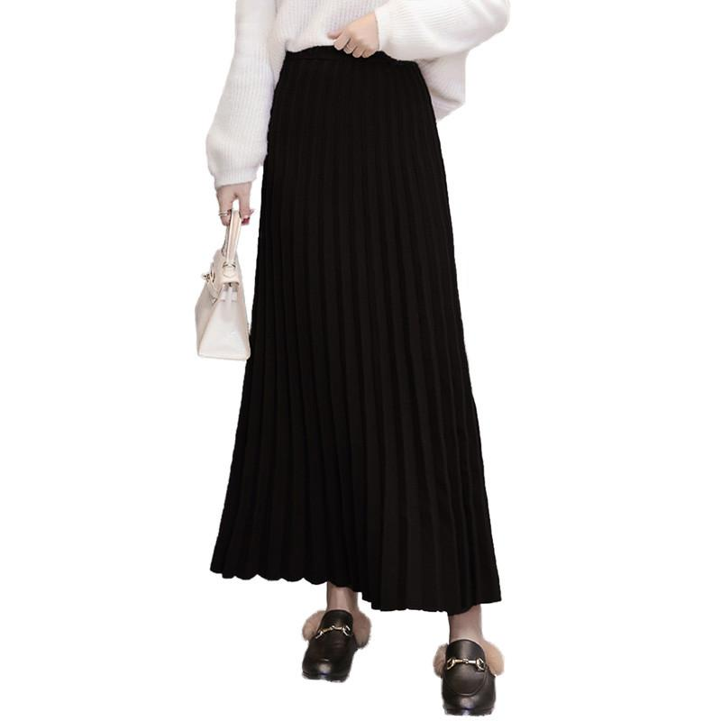Skirt Vintage black Elegant 2018 Gray line A Winter Knitted Autumn coffee Pleated Sweater V160 Solid Thicken High Female Waist Women Elastic zq7pfwRR