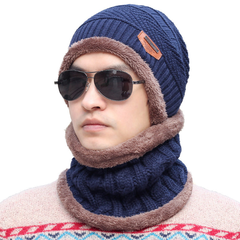 Fashion High Quality 6 Colors Winter Thicker Wool Knitted Ski Outdoor Male Hat Warm   Skullies     Beanies   Scarf Cap Set