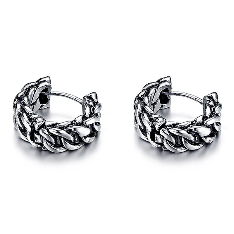 VE169 Retro Stainless Steel Female Chain Earrings Allergy One Pair Vintage Stud Earring Gift Women Fashion Jewelry pair of stylish rhinestone alloy stud earrings for women