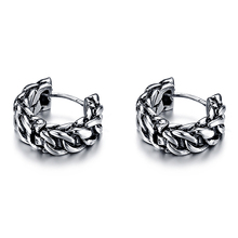 VE169 Retro Stainless Steel Female Chain Earrings Allergy One Pair Vintage Stud Earring Gift Women Fashion Jewelry