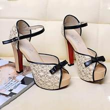 2016 Upgrade Peep Toe High Heel Women Sandals With Platform Lace Bowtie Buckle Sexy Wedding Shoes 12CM Heel Shoes Women's Pumps
