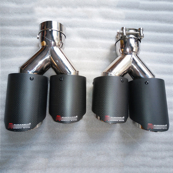 2pcs 63mm Inlet 89mm Outlet Universal Exhaust Twin Outlet Pipe Car Auto Exhaust Tip Carbon Fiber Stainless Steel Pipe