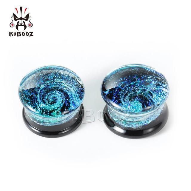 Round MultiColor Glass Ear...