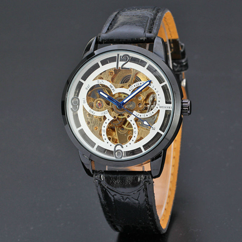 Automatic Mechanical Watches Men Brand Luxury Genuine Self-wind Leather Skeleton Transparent Hollow Black Watches 30m waterproof