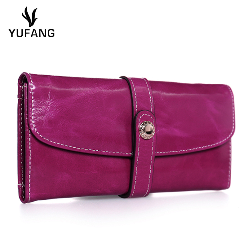 YUFANG Women Card Holder Genuine Leather Female Wallet Natural Leather Long Money Bag Ladies Candy Color Phone Purse Coin Pocket