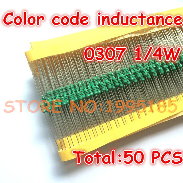 50pcs/lot 0307 1/4w 1000uh 1mh farbcode induktivität 0307 102k ...