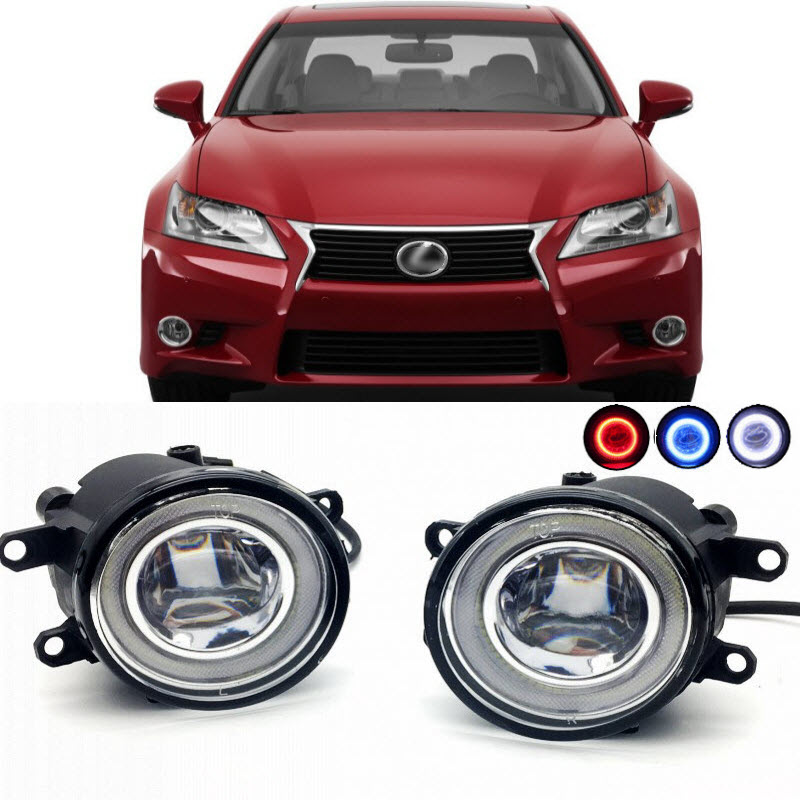 2 in 1 LED Angel Eyes DRL 3 Colors Daytime Running Lights Cut-Line Lens Fog Lights Lamp for Lexus GS350 GS460 GS450h 2011-2015 for opel astra h gtc 2005 15 h11 wiring harness sockets wire connector switch 2 fog lights drl front bumper 5d lens led lamp