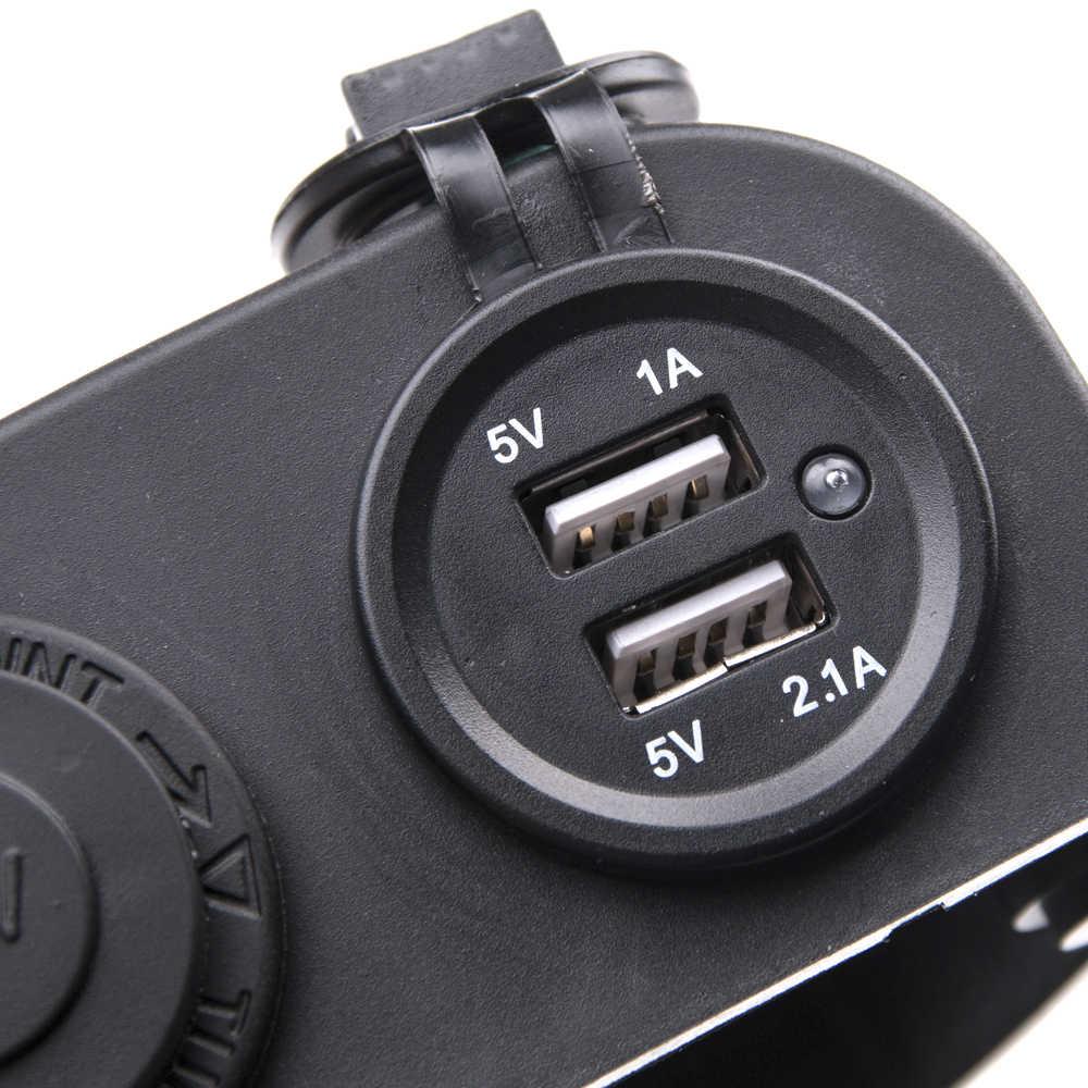 KWOKKER 12V/24V Auto Cigarette Lighter 12V Motorcycle Socket Power Adapter Waterproof Splitter Dual USB Phone Car Charger Car