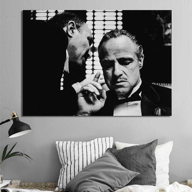 Vintage Wall Posters And Prints Black And White Movie Photo Wall Art Canvas Prints Godfather Wall Paintings Decor