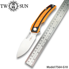 TWOSUN D2 blade folding Pocket Knife tactical knife hunting knife Outdoor camping tool EDC ball Bearings Fast Open G10 TS64 цены