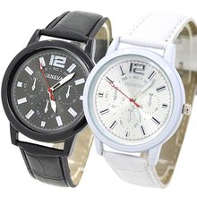 Popular Concise Geneva Faux Leather Strap Big Dial Quartz wa