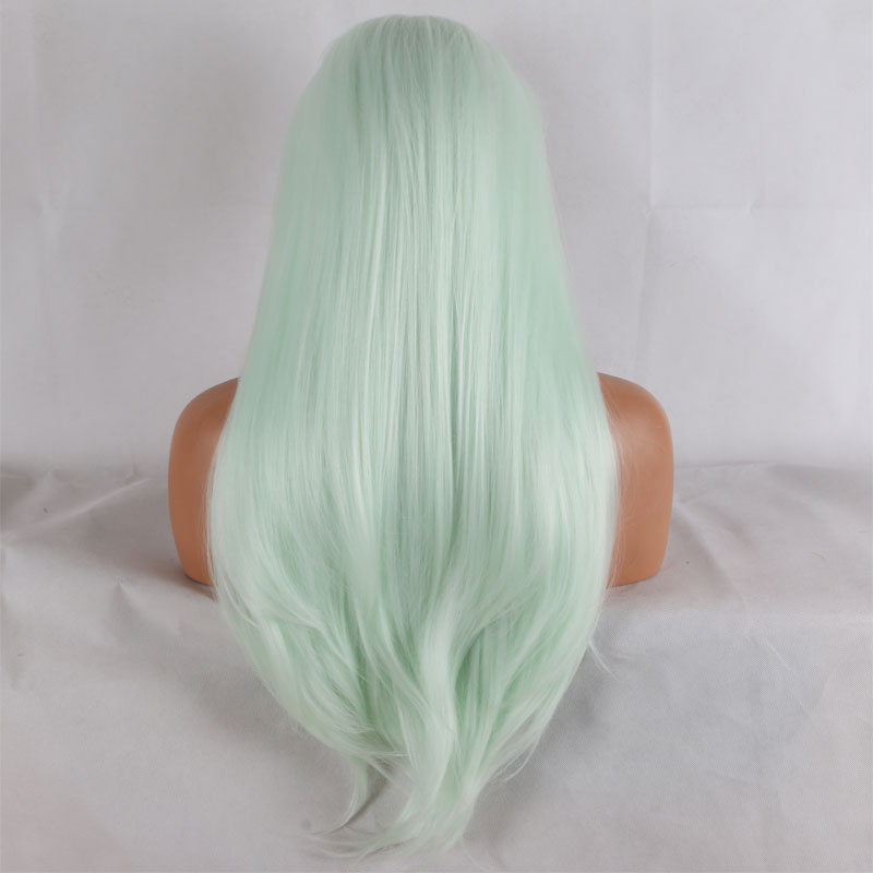 Bombshell Straight Hand Tied Synthetic Lace Front Wig Light Blue Green Heat Resistant Fiber Hair Natural Hairline For Women Wigs