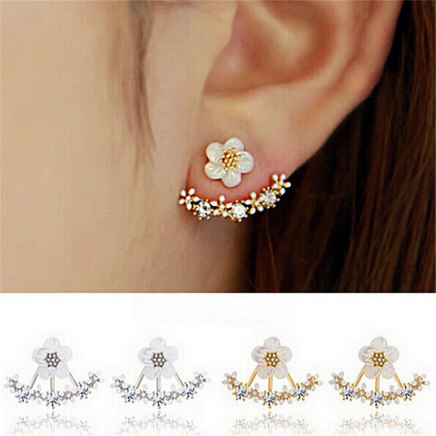 oLARU Jewelry Popular in Korea Flower Crystal Stud Earring For Woman New Ear hanging Bib ...