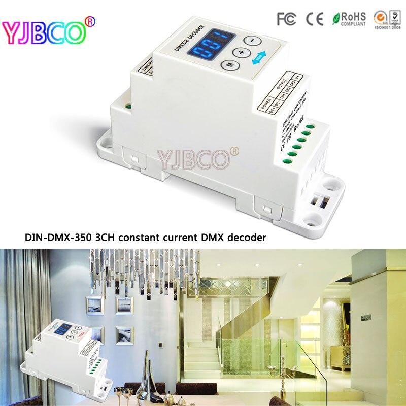 LTECH led controller DIN-DMX-350 3CH constant current DMX/RDM Decoder;DC12-48V input;350mA CC*3CH output din dmx 4ch 4ch cv rdm dmx decoder dc5 24v input 4a 4ch output