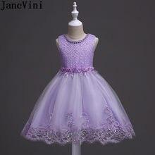 20ceabaff4730 JaneVini Işık Mor Payetli Çiçek Kız Elbise Düğün Balo İnci Dantel Çocuklar  Için Balo Akşam Önlük