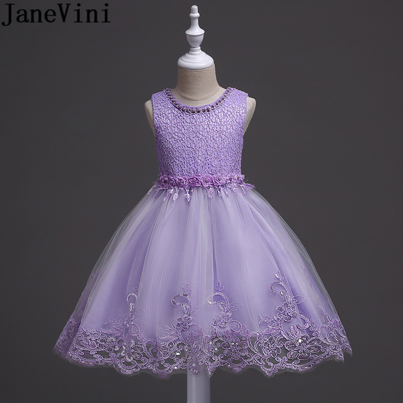 JaneVini Light Purple Sequined   Flower     Girl     Dresses   For Wedding Ball Gown Pearl Lace Kids Prom Evening Gowns Robe Communion   Dress