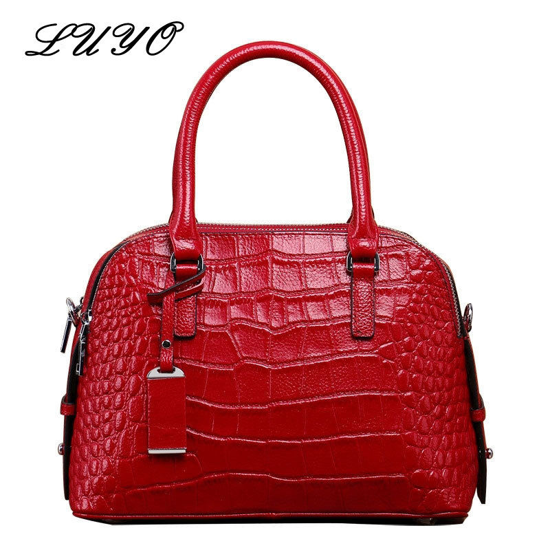 2017 Fashion Crocodile Genuine Leather Shell Bags Ladies Handbags Women Famous Brands Female Shoulder Tote Bag Bolsas Feminina 2017 new women leather handbags fashion shell bags letter hand bag ladies tote messenger shoulder bags bolsa h30