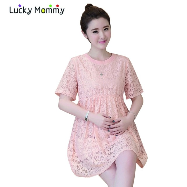 a5c80c5b591 Pink Lace Maternity-dress Short-sleeved Summer Maternity Dresses Elegant  Casual Pregnancy Dress Ropa