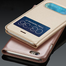 WeeYRN Open Window PU Leather Flip Case For iPhone