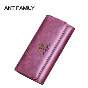 Image 2 - Cartera de cuero genuino 2020 para mujer, monedero con cerrojo de marca de lujo, billetera larga de cuero para mujer, billetera de teléfono de abeja, titular de la tarjeta femenina