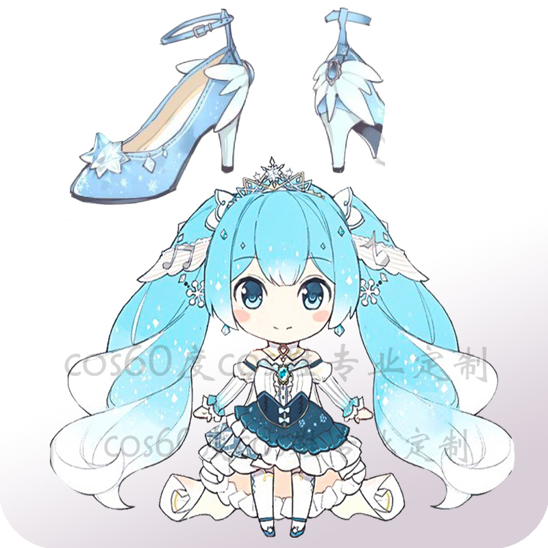 2019 Hatsune Miku Snow Princess Shoes Feather High-heeled Shoes Cosplay Costume