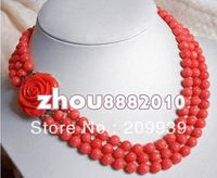 Free shipping 00122 Rare 3 rows 7 8mm Japan Pink Sea coral beads necklace