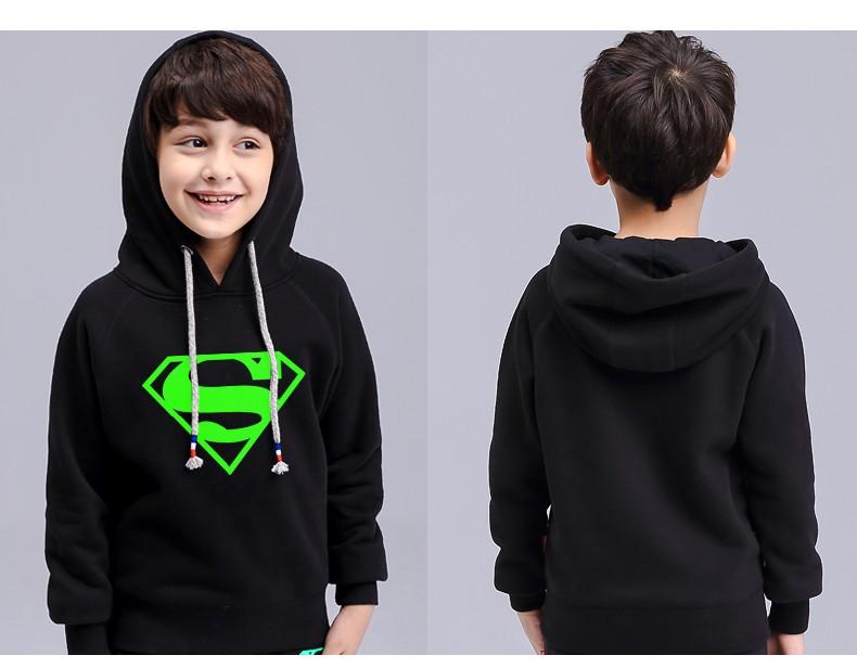 Noctilucent luminous light 3d print kids boy girl hooded hoodie hip hop spiderman bat man super bear bunny basketball Children (3)