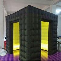 Двойной двери надувные фото Cabin надувной шатер кубика Светодиодный Надувные Photo Booth светодиодный освещения палатки с воздушный насос 2,5*2,5*2,5