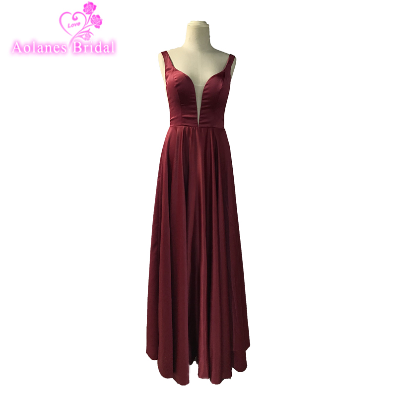 Simple Long Prom Dresses 2018 Sexy V Neck Sleeveless African Burgundy Evening Dresses Heavy Satin Prom Dresses