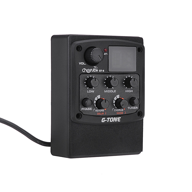 Image 2 - Cherub GT 6 Acoustic Guitar Preamp Piezo Pickup Reverb Delay Chorus 3 Band EQ Equalizer LCD Tuner Wide Effect Musical Instrument-in Guitar Parts & Accessories from Sports & Entertainment