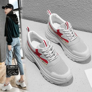 Women Chunky Sneakers Fashion Breathable mesh Women Platform Shoes Genuine Leather Vulcanize Shoes Female Trainers Dad Shoes