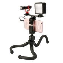 Купить с кэшбэком Ulanzi MT-04 Mini Octopus Tripod Video Kit W Microphone Light Handle Rig Flexible Tripod Cold Shoes for iPhone Samsung Vlogging
