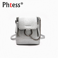 Multifunction Mini Silver Backpacks For Girls Mini Backpack Women Leather Backpacks Sac A Dos Crossbody Bag