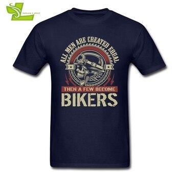 모든 남성은 동등하게 창조됩니다. 그 다음은 자전거 타는 사람이 될 것입니다. T 셔츠 남자 100% Cotton Tees 남성 의류 패션 여름 Teenage Tee Shirts
