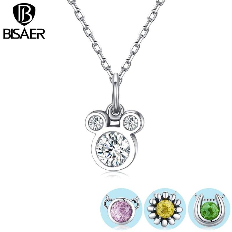 da60a3a65b05 Comprar ahora Nueva colección genuino 925 Color CZ piedra flor deslumbrante  Miky ratón colgantes collares para mujeres joyería