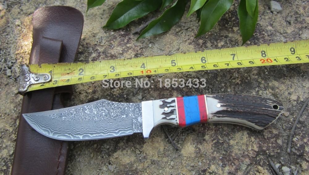 ФОТО Damascus fixed blade hunting knife Deer horn Double color handle tactical Straight knife with sheath