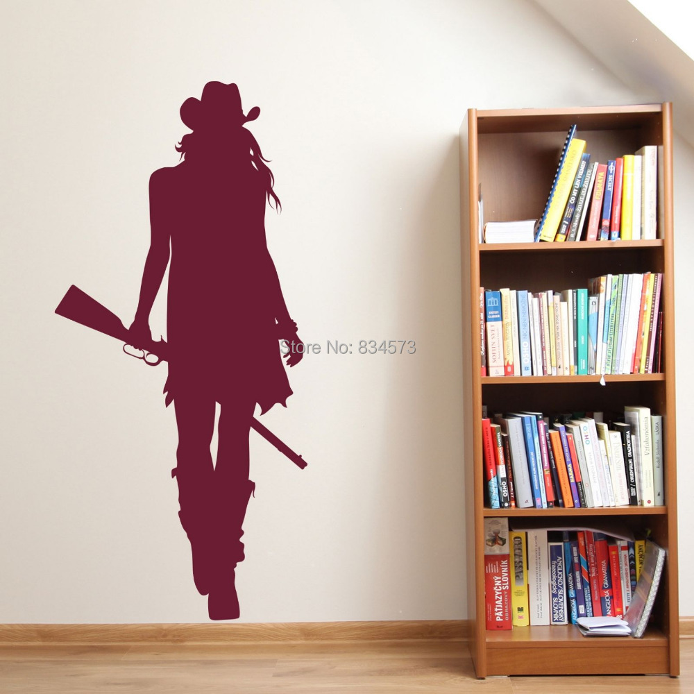 Cowgirl cowboy west silhouette Wall Art Stickers Decal Home DIY Decoration Decor Wall Mural Removable Bedroom Stickers 122X57cm