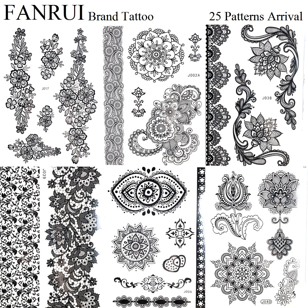 Henna Lace Bracelet Temporary Tattoo Sticker: Henna Mandala Black Tattoo Stickers Bracelet Girls Body