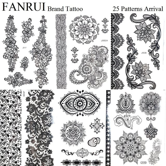 Henna Mandala Black Tattoo Stickers Bracelet Girls Body Arm Art