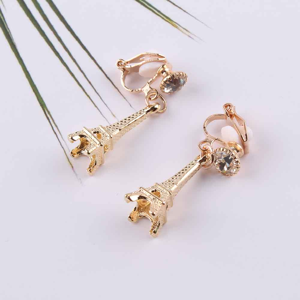 Jewelry & Accessories Grace Jun New Arrival Rhinestone Simulated Pearl Small Crown Shape Clip On Earrings For Girls Party Ornament Neednt Ear Hole Earrings