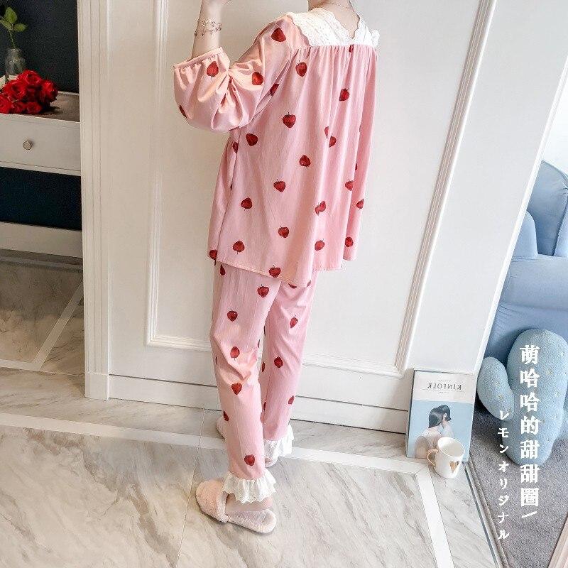 Princess Sweet Lolita Pajamas Summer And Autumn Strawberry Pajamas Women's Cotton Kimono Court Lace Cute Pajamas MHH NK095